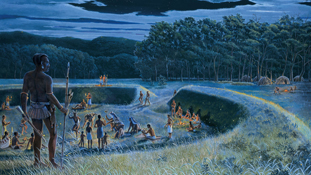 Painting of Hopewell Culture people, showing earthworks