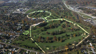 Arial view of Hopewell site, outlining earthworks