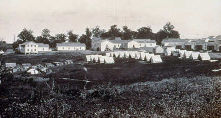 Refugee huts at Camp Nelson
