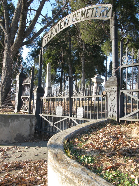 Entrance to Fairview Cemetery in Arkansas