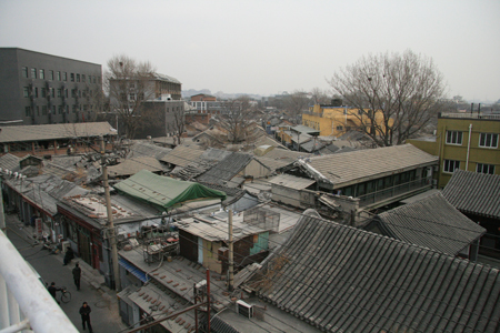 Beijing hutong district from above