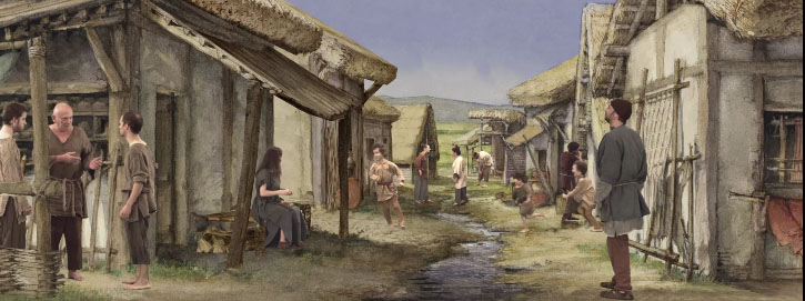Scene in the Gallic village of Bibcracte
