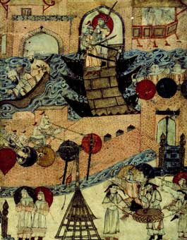 Tapestry of Genghis Khan crossing the Tigris River