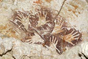 Hand Stencils on Cave Wall