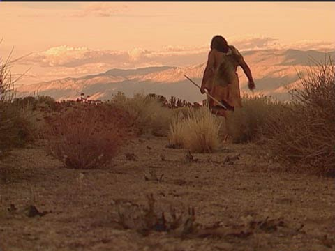 Paiute man in Owens Valley (re-enactment)