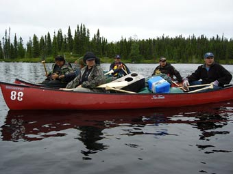 Field Team in Canoe